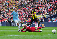 Football - 2019 Emirates FA Cup Final - Manchester City vs. Watford<br /> <br /> Jesus of Man City shots past goalkeeper, Heurelho Gomes to score goal number 4, at Wembley Stadium.<br /> <br /> COLORSPORT/ANDREW COWIE