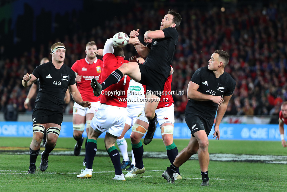 All Black Ben Smith goes for the high ball during the 30-15 All Black win in the first test match of the DHL Lions Series 2017 played between the All Blacks and the British and Irish Lions at Eden Park, Auckland on 24th June 2017. <br /> Copyright Photo; Peter Meecham/ www.photosport.nz
