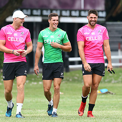Robert du Preez with Louis Schreuder and Kobus van Wyk during the cell c sharks training session at  Growthpoint Kings Park 13,02,2018 Photo by Steve Haag)