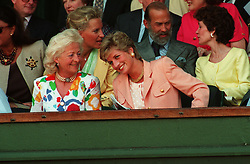 THE PRINCESS OF WALES WITH HER MOTHER FRANCES SHAND KYDD AT THE MEN'S SINGLES FINAL WIMBLEDON 1993 BETWEEN PETE SAMPRAS AND JIM COURIER.