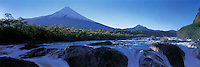Panoramic View from Osorno volcano and Petrohue waterfalls , Vicente Perez Rosalez National Park , Chile