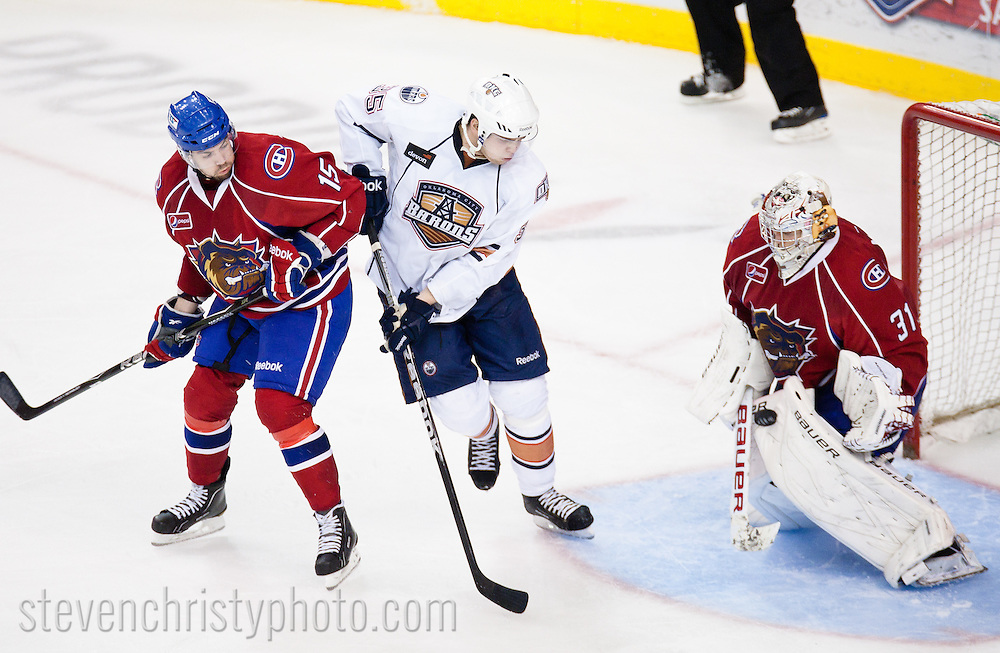 April 19, 2011: The Oklahoma City Barons played the Hamilton Bulldogs in game 3 of the first round of the American Hockey League playoffs. The game was played at the Cox Convention Center in Oklahoma City.