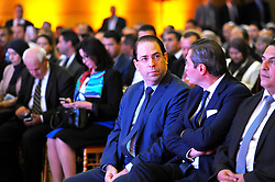 October 4, 2018 - Tunis, Tunisia - Head of Government Youssef Chahed (L)and Minister of Local Affairs and Environment Riadh El Mouakhar during  Kick-off of the first edition of the National Day of Local Authorities.More than 500 city councilors are in the spotlight this Thursday, with the holding of the first edition of the National Day of Local Communities at the Palais des Congrès in Tunis at the initiative of the Ministry of Local Affairs and Environment..This event was an opportunity to announce by the Head of Government Youssef Chahed, a set of measures for the benefit of municipalities (Credit Image: © Chokri Mahjoub/ZUMA Wire)