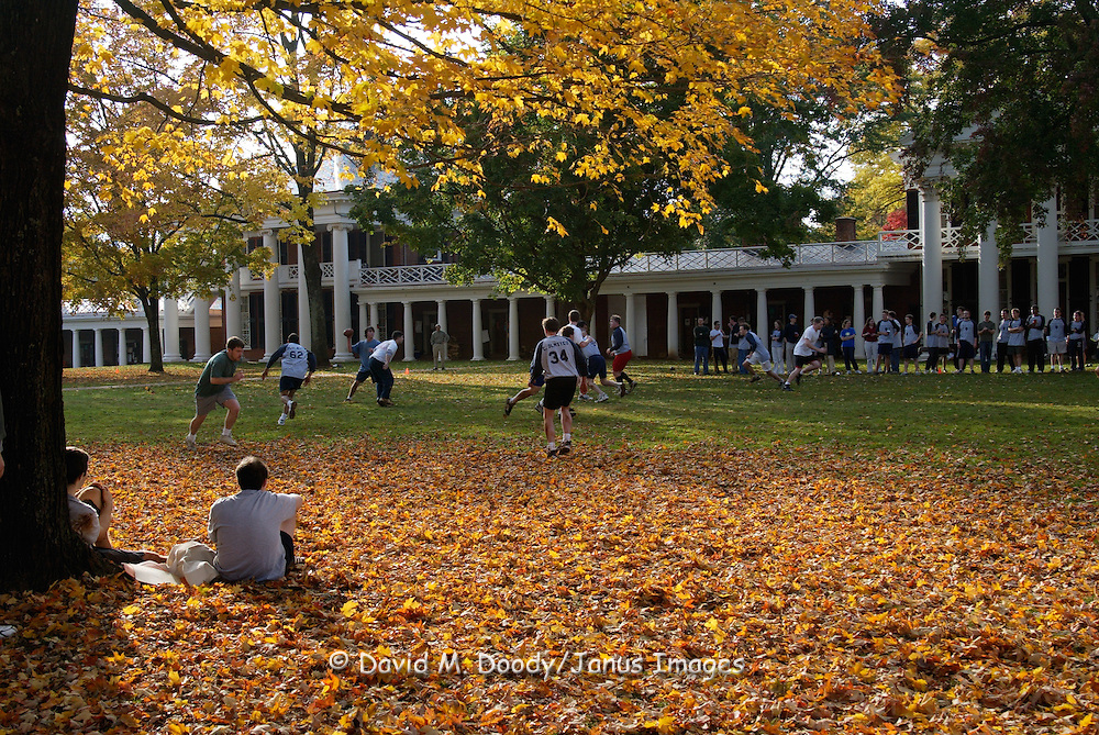 Football on the lawn. University of Virginia Campus Charlottesville, Virginia.