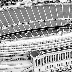 Chicago Soldier Field aerial panorama photo in black and white. Solider Field stadium is home to the Chicago Bears NFL football team. Taken in 2013 from a helicopter. Panoramic ratio is 1:3.