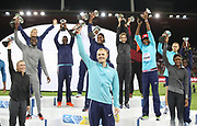 IAAF Diamond League winners including Sam Kendricks (USA), Caster Semenya (RSA), Sally Pearson (AUS), Mo Farah aka Mohamed Farah (GBR), Lijiao Gong (CHN),  Barbora Spotakova (CZE),  (BAH), Shaunae Miller-Uib (BAH), Isaac Makwala (BOT), Kyron McMaster (BVI), Ruth Jebet (BRN) and Mutaz Essa Barshim (QAT) during the Weltklasse Zurich in an IAAF Diamond League meeting at Letzigrund Stadium in Zurich, Switzerland on Thursday, August 24, 2017.   (Jiro Mochizuki/Image of Sport)