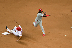 May 6, 2018 - Washington, DC, U.S. - WASHINGTON, DC - MAY 06:  Philadelphia Phillies third baseman Maikel Franco (7) turns a double play to force out Washington Nationals third baseman Anthony Rendon (6) at second base during the game between the Philadelphia Phillies and the Washington Nationals on May 6, 2018, at Nationals Park, in Washington D.C.  The Washington Nationals defeated the Philadelphia Phillies, 5-4.  (Photo by Mark Goldman/Icon Sportswire) (Credit Image: © Mark Goldman/Icon SMI via ZUMA Press)