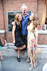 Left to right, HEATHER KERZNER, DAVID BAILEY and his wife CATHERINE at a private view of photographs by David Bailey entitled 'Then' held at Hamiltons, 13 Carlos Place, London W1 on 6th July 2010.