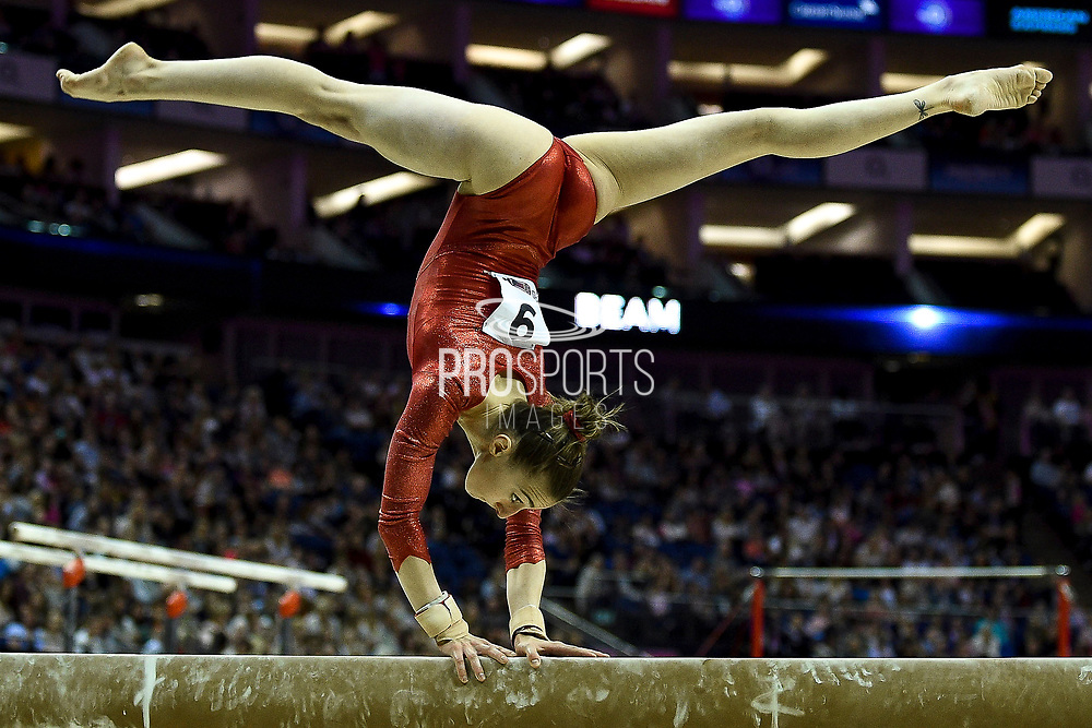 Ilaria Kaslin of Switzerland (SUI) on the Beam during the iPro Sport World Cup of Gymnastics 2017 at the O2 Arena, London, United Kingdom on 8 April 2017. Photo by Martin Cole.