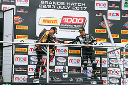 #4 Michael Rutter Bridgnorth Bathams SMT BMW Pirelli National Superstock 1000 Championship #69 Chrissy Rouse Newcastle Upon Tyne Mission Racing BMW Pirelli National Superstock 1000 Championship Podium