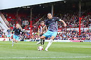 Sheffield Wednesday Forward Atdhe Nuhiu steps up to take the penalty during the Sky Bet Championship match between Brentford and Sheffield Wednesday at Griffin Park, London, England on 26 September 2015. Photo by Phil Duncan.