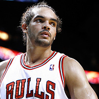 29 January 2012: Chicago Bulls center Joakim Noah (13) is seen during the Miami Heat 97-93 victory over the Chicago Bulls at the AmericanAirlines Arena, Miami, Florida, USA.
