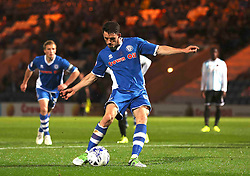 Ian Henderson of Rochdale scores the second goal from the penalty spot - Mandatory byline: Matt McNulty/JMP - 07966386802 - 29/09/2015 - FOOTBALL - Spotland Stadium -Rochdale,England - Rochdale v Shrewsbury - SkyBet League One