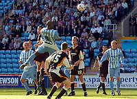 Photo: Henry Browne.<br /> Coventry City v Hull City. Coca Cola Championship.<br /> 24/09/2005.<br /> Dele Adebola of Coventry hits the woodwork with this effort.