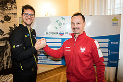 Miha Mlakar of Slovenia and Radoslaw Szymanik of Poland during Official Draw of Davis Cup 2018 tournament between National teams of Slovenia and Poland, on February 2, 2018 in Mestna hisa - Mariborski Rotovz, Maribor, Slovenia. Photo by Rene Gomolj / Sportida