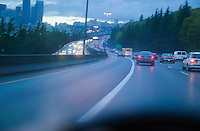 Traffic on Interstate 5 northbound on a rainy afternoon Downtown Seattle WA USA.