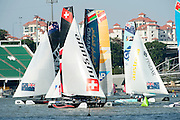 Day three of the Extreme Sailing Series regatta being sailed in Singapore. 22/2/2014