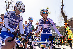 Lensworld Zannata having fun on the way to sign in - Flèche Wallonne Femmes - a 137km road race from starting and finishing in Huy on April 20, 2016 in Liege, Belgium.