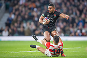 Twickenham, United Kingdom, Saturday, 17th  November 2018, RFU, Rugby, Stadium, England, Akihito YAMADA, Tackles, Joe COKANASIGA, Quilter Autumn International, England vs Japan, © Peter Spurrier