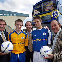 St Johnstone FC new sponsorship & strip...31.5.2004.<br />Brian Souter,right, Stagecoach Groups Chief Executive, St Johnstone chairman Geoff Brown, left, and manager John Connolly,centre, with two of the younger St Johnstone FC squad, Mark Baxter, left, and Stephen Fraser, right, at the official launch of the new club strip and sponsorship deal.<br /><br />Picture by John Lindsay .<br />COPYRIGHT: Perthshire Picture Agency.<br />Tel. 01738 623350 / 07775 852112.