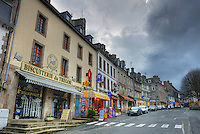 Main street of Treguier, stores, Cotes d'Armor, Brittany, Bretagne, France