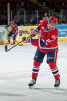 KELOWNA, CANADA - MARCH 5: Adam Helewka #14 of the Spokane Chiefs warms up against the Kelowna Rockets on March 5, 2014 at Prospera Place in Kelowna, British Columbia, Canada.   (Photo by Marissa Baecker/Getty Images)  *** Local Caption *** Adam Helewka;