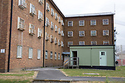 A portacabin outisde D wing at HMP Coldingley. Surrey, United Kingdom. HMP Coldingley is a category C training prison and was built in 1969. Coldingley is focussed on the resettlement of prisoners, and all inmates must work a full working week, within the prison grounds.