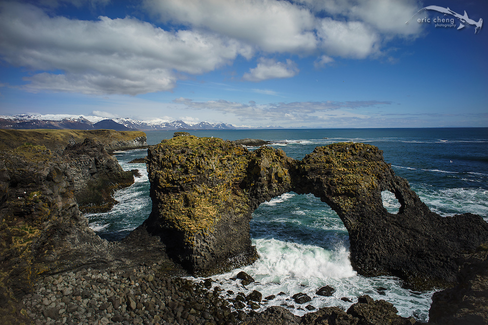 A cool double-hole arch in Snæfellsnes peninsula. I flew Phantom through the larger one. :)