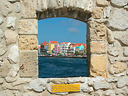 Punda district waterfront buildings as seen from The Riffort in Willemstad, Curacao.