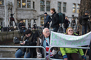 Outside the Supreme court of the United Kingdom, Parliament Sq. London. 5 December 2016.<br /> Beginning of four days of hearings on Brexit - and who has the power to trigger it. 11 justices listen to arguments on whether government or Parliament has that power.