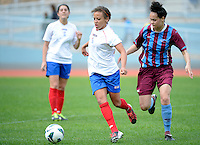 Sarah Gregorius of Auckland football looks to evade defence, in the ASB women's league match between Football South and Auckland Football, at the Caledonian Ground, Dunedin, New Zealand,  20 October 2013. Credit: Joe Allison / allisonimages.co.nz