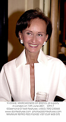YVONNE, MARCHIONESS OF BRISTOL at a party in London on 13th June 2001.<br />OPH 7