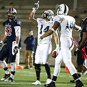 Isaiah Vogeli #14 of the Blacktips celebrates a touchdown during the first ever Boston Brawlers home game at Harvard Stadium on October 24, 2014 in Boston, Massachusetts. (Photo by Elan Kawesch)