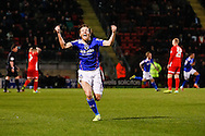 James Dayton of Oldham Athletic celebrates his team's first goal to make it 1-1 during the Sky Bet League 1 match at the Matchroom Stadium, London<br /> Picture by David Horn/Focus Images Ltd +44 7545 970036<br /> 25/03/2014