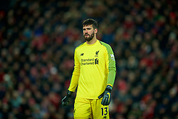 LIVERPOOL, ENGLAND - Wednesday, January 30, 2019: Liverpool's goalkeeper Alisson Becker during the FA Premier League match between Liverpool FC and Leicester City FC at Anfield. (Pic by David Rawcliffe/Propaganda)