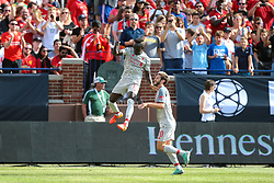 July 28, 2018 - Ann Arbor, Michigan, United States - Sadio Mane (10) of Liverpool leaps in celebration with Adam Lallana (20) after scoring a goal against Manchester United during an International Champions Cup match between Manchester United and Liverpool at Michigan Stadium in Ann Arbor, Michigan USA, on Wednesday, July 28,  2018. (Credit Image: © Amy Lemus/NurPhoto via ZUMA Press)