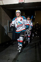 KELOWNA, CANADA - APRIL 3: Tyson Baillie #24 of the Kelowna Rockets walks to the ice at the start of third period against the Seattle Thunderbirds on April 3, 2014 during Game 1 of the second round of WHL Playoffs at Prospera Place in Kelowna, British Columbia, Canada.   (Photo by Marissa Baecker/Getty Images)  *** Local Caption *** Tyson Baillie;