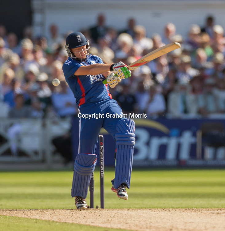 Jonny Bairstow misses during the fifth and final NatWest Series one day international between England and South Africa at Trent Bridge, Nottingham. Photo: Graham Morris (Tel: +44(0)20 8969 4192 Email: sales@cricketpix.com) 05/09/12