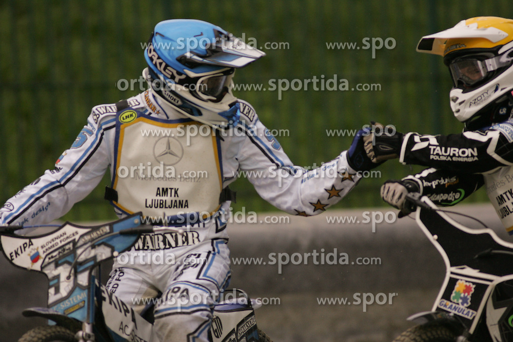 Matej Zagar of Slovenia and Sebastian Ulamek of Poland at Speedway European Championship race semi finals of individuals, on June 19, 2010, in Sportni park Ilirije, Ljubljana, Slovenia. (Photo by Urban Urbanc / Sportida)