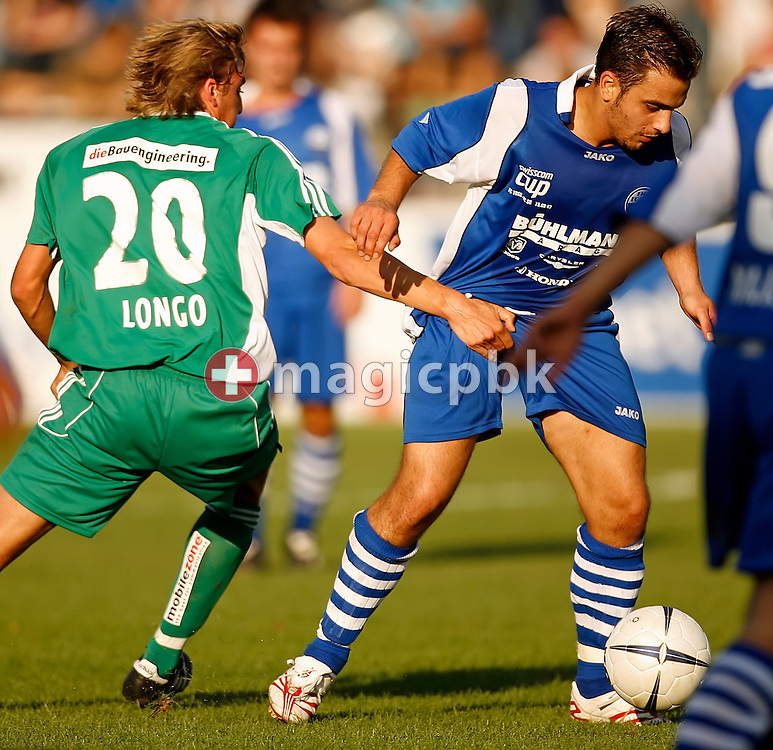 FCSG's player Dominique Longo (L) and FC Toess's Serkan Mutlu (R) are fighting for the ball during the Swiss soccer cup game between FC Toess and the FC St. Gallen at the Schuetzenwiese stadium in Winterthur, Switzerland, Saturday, September 15, 2007. FC St. Gallen wins the game against FC Toess by eight to nil. (Photo by Patrick B. Kraemer / MAGICPBK)