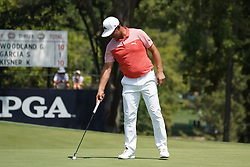 August 10, 2018 - St. Louis, Missouri, United States - Gary Woodland reacts after missing a putt on the 9th green during the second round of the 100th PGA Championship at Bellerive Country Club. (Credit Image: © Debby Wong via ZUMA Wire)