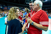 Katowice, Poland - 2017 September 01: (L) Joanna Styczen - Lasocka (National General Director of Special Olympics Poland) and (R) famous trainer coach Waldemar Wspanialy attend in All Stars Game while Opening Ceremony during European Unified Volleyball Tournament 2017 at Spodek Hall on September 01, 2017 in Katowice, Poland.<br /> <br /> Adam Nurkiewicz declares that he has no rights to the image of people at the photographs of his authorship.<br /> <br /> Picture also available in RAW (NEF) or TIFF format on special request.<br /> <br /> Any editorial, commercial or promotional use requires written permission from the author of image.<br /> <br /> Image can be used in the press when the method of use and the signature does not hurt people on the picture.<br /> <br /> Mandatory credit:<br /> Photo by &copy; Adam Nurkiewicz / Mediasport