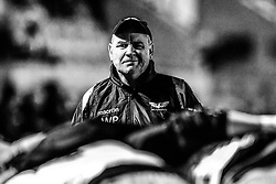Scarlets' Head Coach Wayne Pivac drills the forwards during the pre match warm up<br /> <br /> Photographer Craig Thomas/Replay Images<br /> <br /> Guinness PRO14 Round 13 - Scarlets v Dragons - Friday 5th January 2018 - Parc Y Scarlets - Llanelli<br /> <br /> World Copyright © Replay Images . All rights reserved. info@replayimages.co.uk - http://replayimages.co.uk