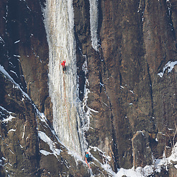 Jeff Mercier making the second ascent of Le Somnambule on Lake Walker, near Port-Cartier, Quebec