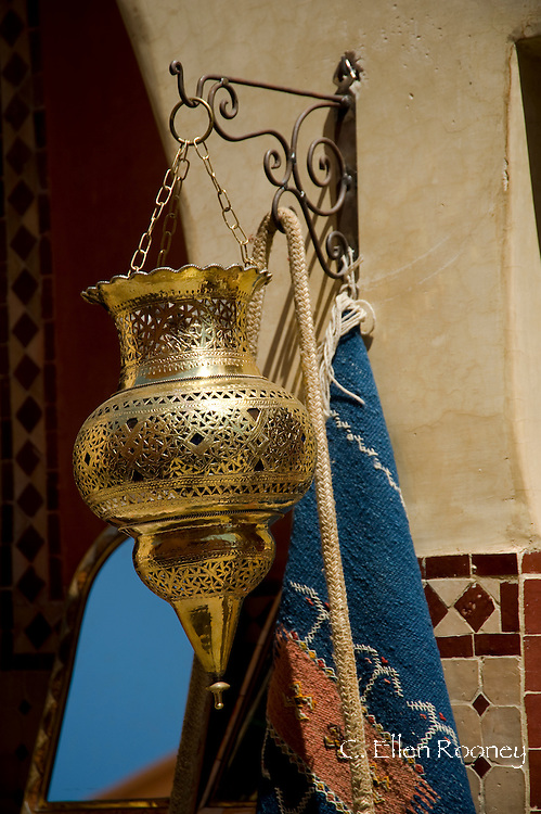 An intiricately designed brass lantern for sale in the souk in Marrakech, Morocco