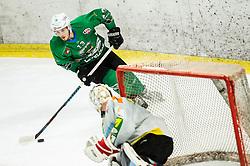 Aljaz Chvatal of Olimpija during Ice Hockey match between HK SZ Olimpija and EHC Alge Elastic Lustenau in Semifinal of Alps Hockey League 2018/19, on April 1, 2019, in Arena Tivoli, Ljubljana, Slovenia. Photo by Vid Ponikvar / Sportida