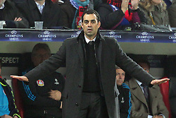 23.11.2011, BayArena, Leverkusen, Germany, UEFA CL, Gruppe E, Bayer 04 Leverkusen (GER) vs Chelsea FC (ENG), im Bild Robin Dutt (Trainer Leverkusen) beruhigt das Spiel seiner Mannschaft // during the football match of UEFA Champions league, group E, between Bayer Leverkusen (GER) and FC Chelsea (ENG) at BayArena, Leverkusen, Germany on 2011/11/23.EXPA Pictures © 2011, PhotoCredit: EXPA/ nph/ Mueller..***** ATTENTION - OUT OF GER, CRO *****