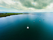 Aerial photograph of boats anchored off of St. Helena Island, Moreton Bay, Queensland, Australia