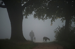 © London News Pictures. 16/10/2013. London, UK.  A dog walker on a fog covered Parliament Hill in Hempstead, London. Parts of the UK have woken to thick fog this morning. Photo credit: Ben Cawthra/LNP