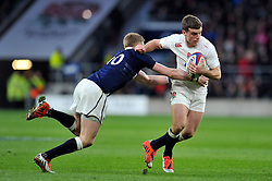 George Ford of England gets past Finn Russell of Scotland - Photo mandatory by-line: Patrick Khachfe/JMP - Mobile: 07966 386802 14/03/2015 - SPORT - RUGBY UNION - London - Twickenham Stadium - England v Scotland - Six Nations Championship